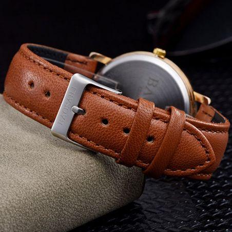 montre femme bracelet cuir marron
