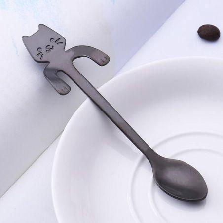 Petite cuillère forme chat noir pas cher