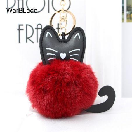 porte clé chat pompon