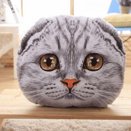 oreiller tete de chat