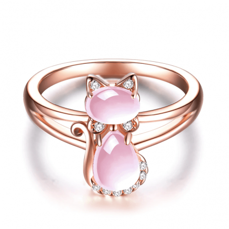bague chat quartz rose