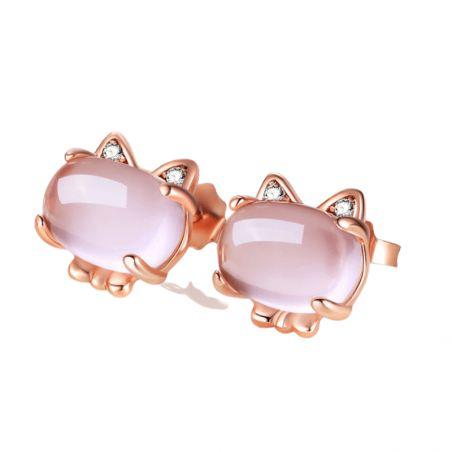 boucles d'oreilles chat rose