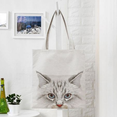 Tote bag toile imprimé chat