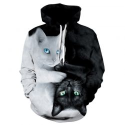 Pull a capuche homme motif chat