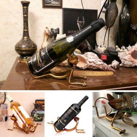 Porte bouteille de vin motif chat