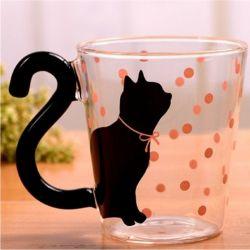 Tasse chat pois rouge en verre
