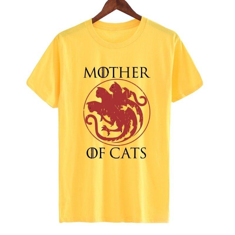 Tee shirt jaune phrase chat
