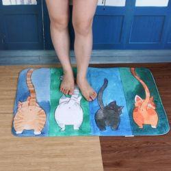Tapis de bain chat bleu