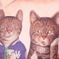 Tapis de sol avec 4 chats
