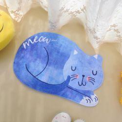 Tapis de douche motif chat bleu
