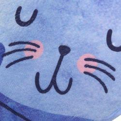 Tapis multi usage motif chat bleu