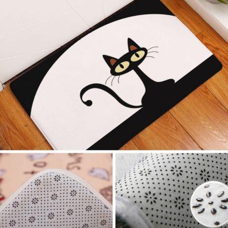 Tapis motif chat noir