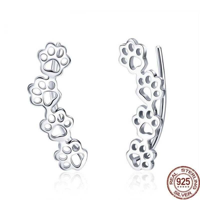 Boucles d'oreilles pattes de chat argent 925