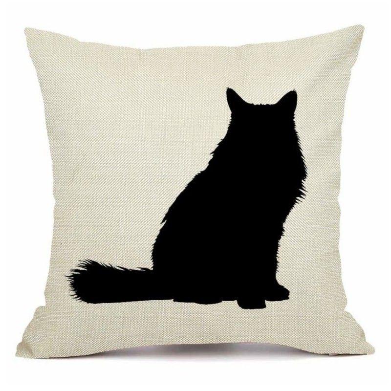 Housse coussin chat noir et blanc