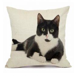 Housse coussin coton imprimé chat
