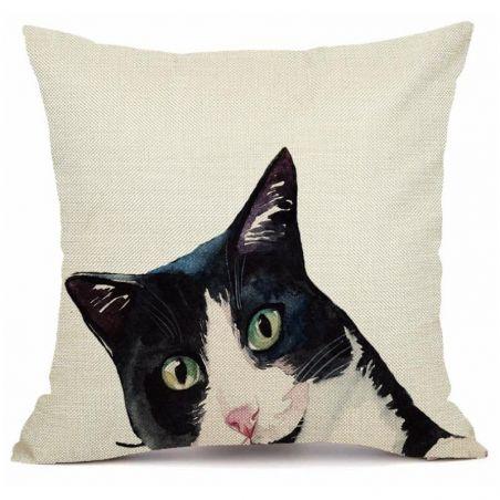 housse coussin motif chat noir