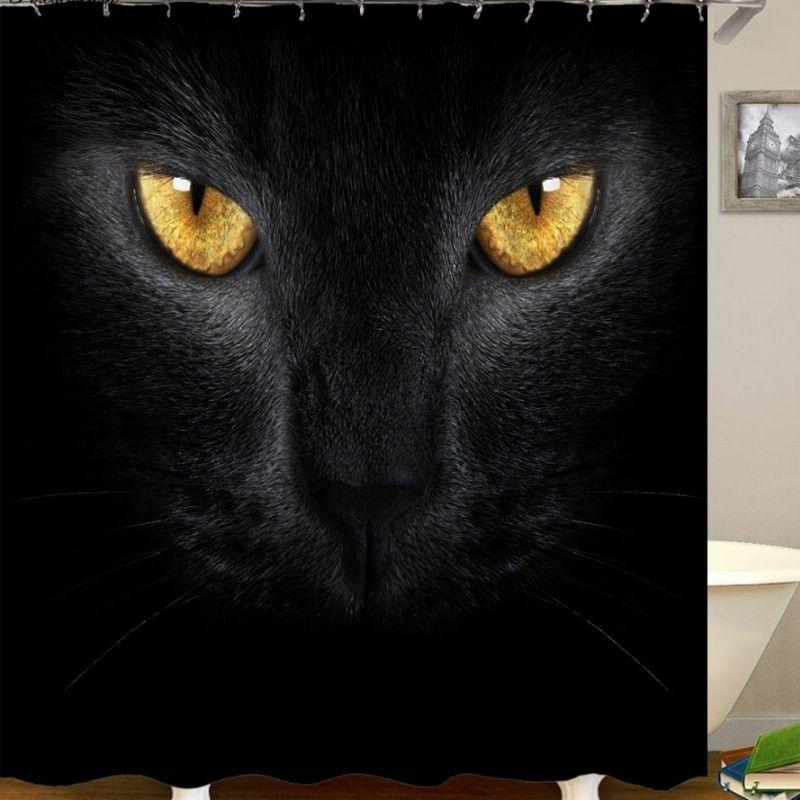 achat rideau douche chat noir pas cher rideau bain chat. Black Bedroom Furniture Sets. Home Design Ideas