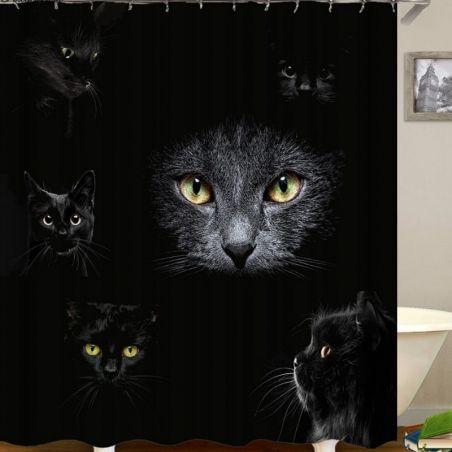 rideau de douche pour baignoire avec chat noir