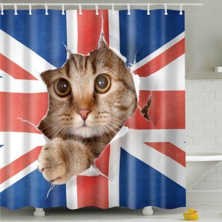 Rideau de douche motif chat anglais