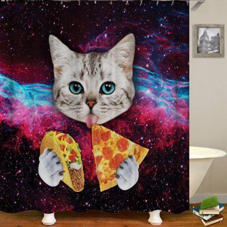 Rideau baignoire chat original