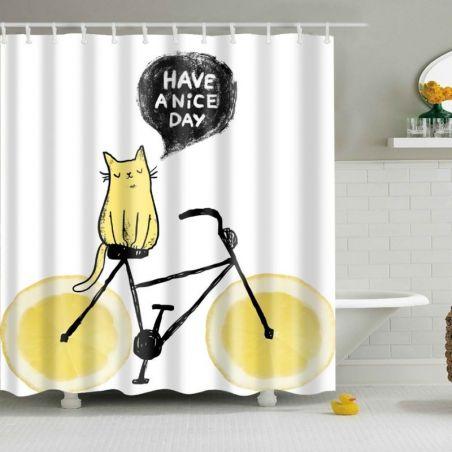 Rideau de douche chat jaune fond blanc