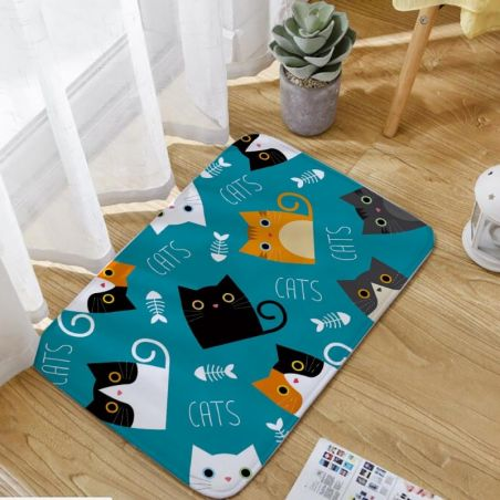 Tapis de douche motif chat kawaii