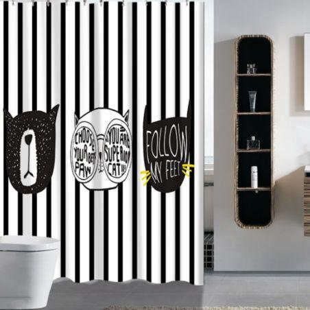 Rideau de baignoire motif chat noir et blanc