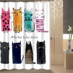 Rideau de douche avec des chats