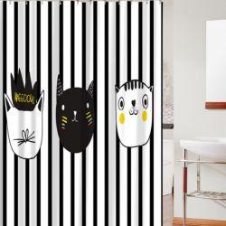 Rideau douche et tapis motif chat pas cher