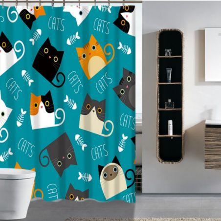 Rideau de bain tete de chat avec tapis