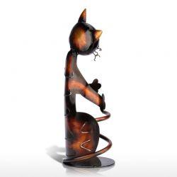 Porte bouteille métal chat fait main