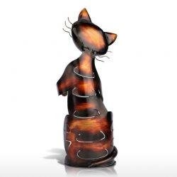 Sculpture porte bouteille motif chat design