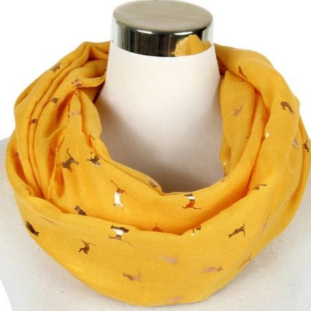 Snood jaune viscose imprimé chat