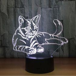 Lampe d'ambiance motif chat acrylique rechargeable