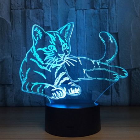 Veilleuse chat led acrylique