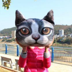 Coussin chat gris réaliste 3D