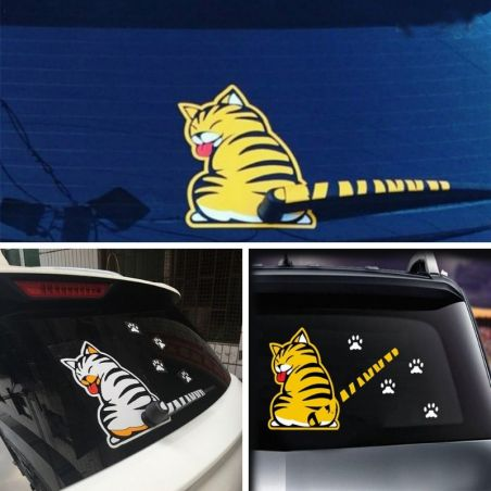 Sticker voiture chat