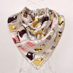 Foulard soie femme luxe motif chat