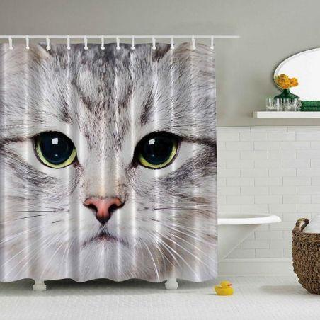 Rideau de douche chat