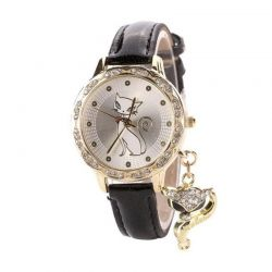 Montre motif chat bracelet noir original