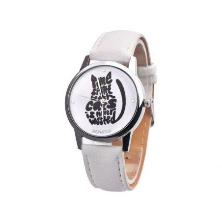 Montre bracelet blanc chat