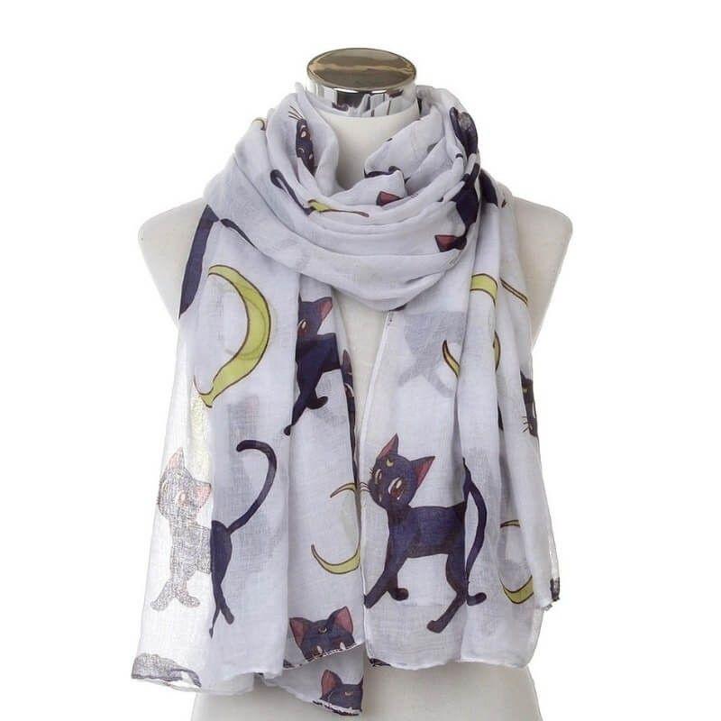 Grande écharpe motif chat pas cher