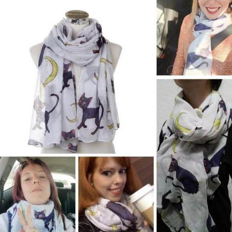 foulard femme motif chat