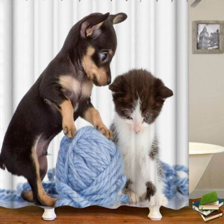 Rideau de douche chat et chien 180x180