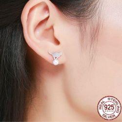 Boucle oreilles perle avec chat