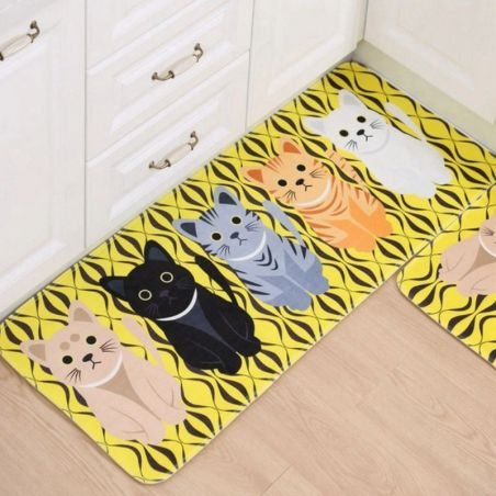Tapis chat fond jaune