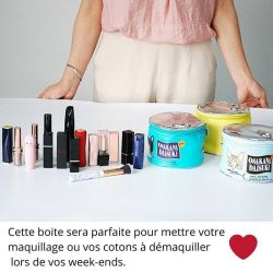 Boite de conserve maquillage motif chat