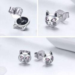 Boucles d'oreilles motif chat