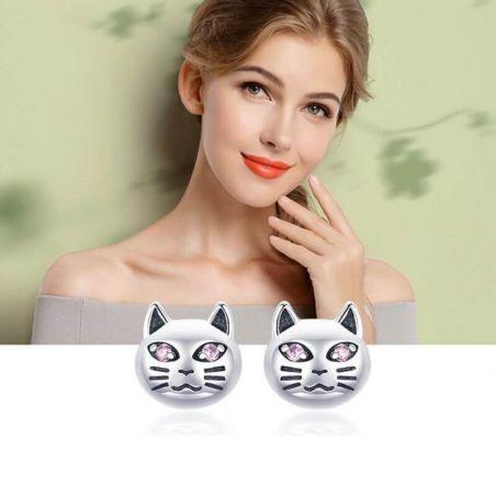 Petites boucle d'oreille motif chat