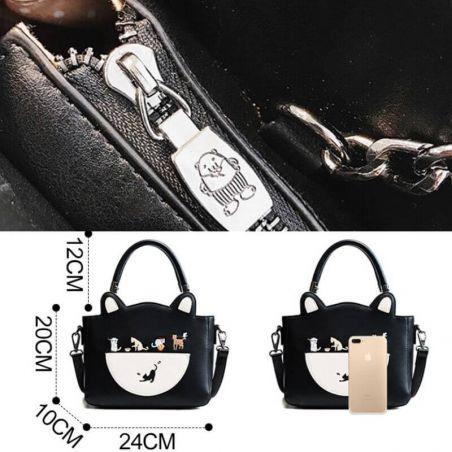 sac a main femme motif chat